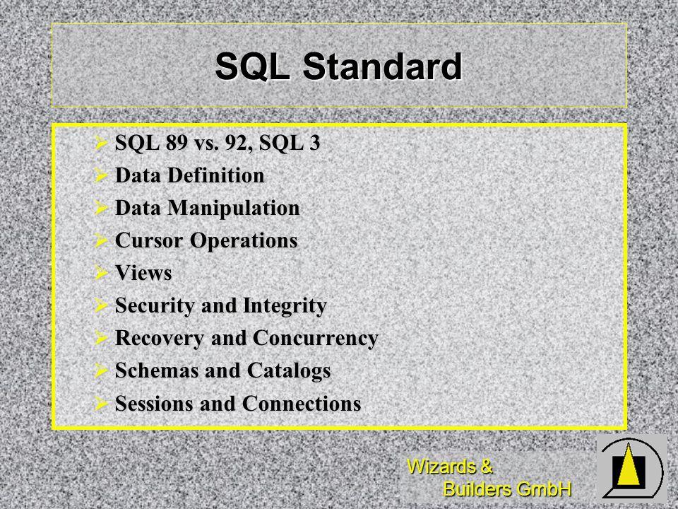 Wizards & Builders GmbH SQL Standard SQL 89 vs. 92, SQL 3 SQL 89 vs. 92, SQL 3 Data Definition Data Definition Data Manipulation Data Manipulation Cur