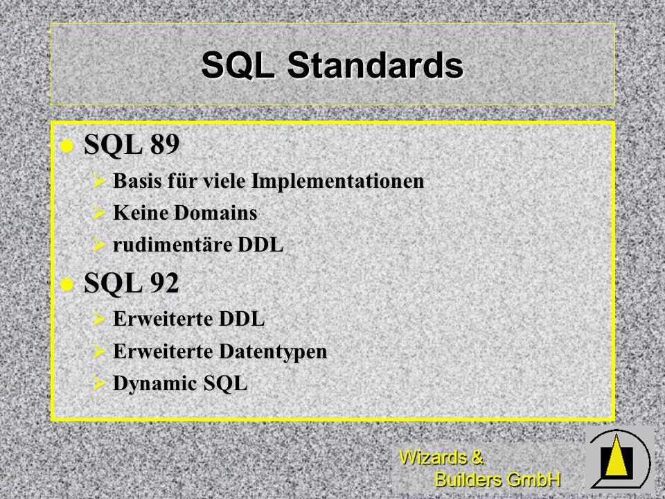 Wizards & Builders GmbH SQL Standards SQL 89 SQL 89 Basis für viele Implementationen Basis für viele Implementationen Keine Domains Keine Domains rudi