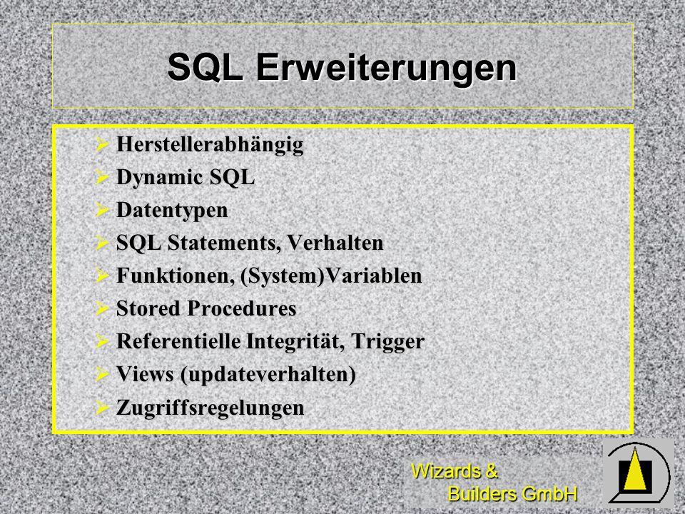 Wizards & Builders GmbH SQL Erweiterungen Herstellerabhängig Herstellerabhängig Dynamic SQL Dynamic SQL Datentypen Datentypen SQL Statements, Verhalte