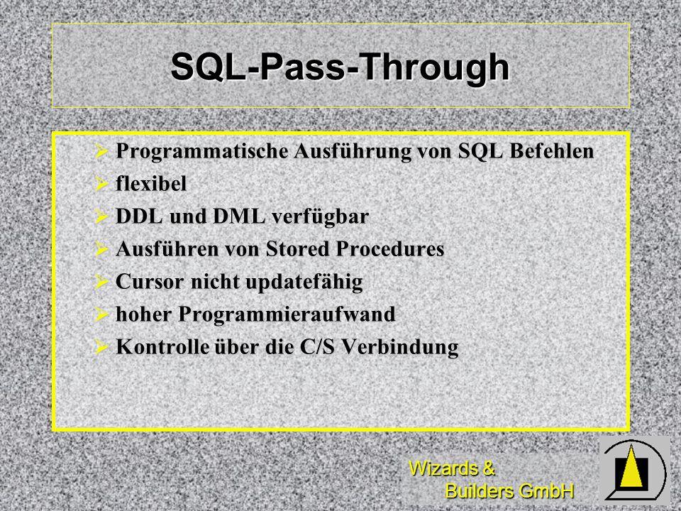 Wizards & Builders GmbH SQL-Pass-Through Programmatische Ausführung von SQL Befehlen Programmatische Ausführung von SQL Befehlen flexibel flexibel DDL
