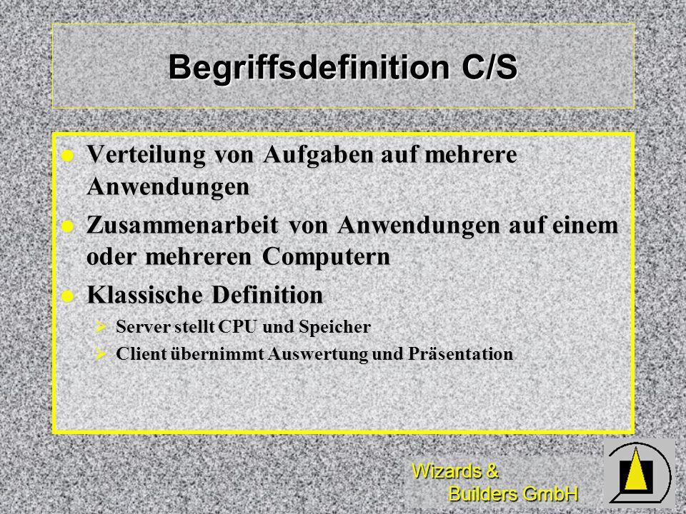 Wizards & Builders GmbH Begriffsdefinition C/S Verteilung von Aufgaben auf mehrere Anwendungen Verteilung von Aufgaben auf mehrere Anwendungen Zusamme
