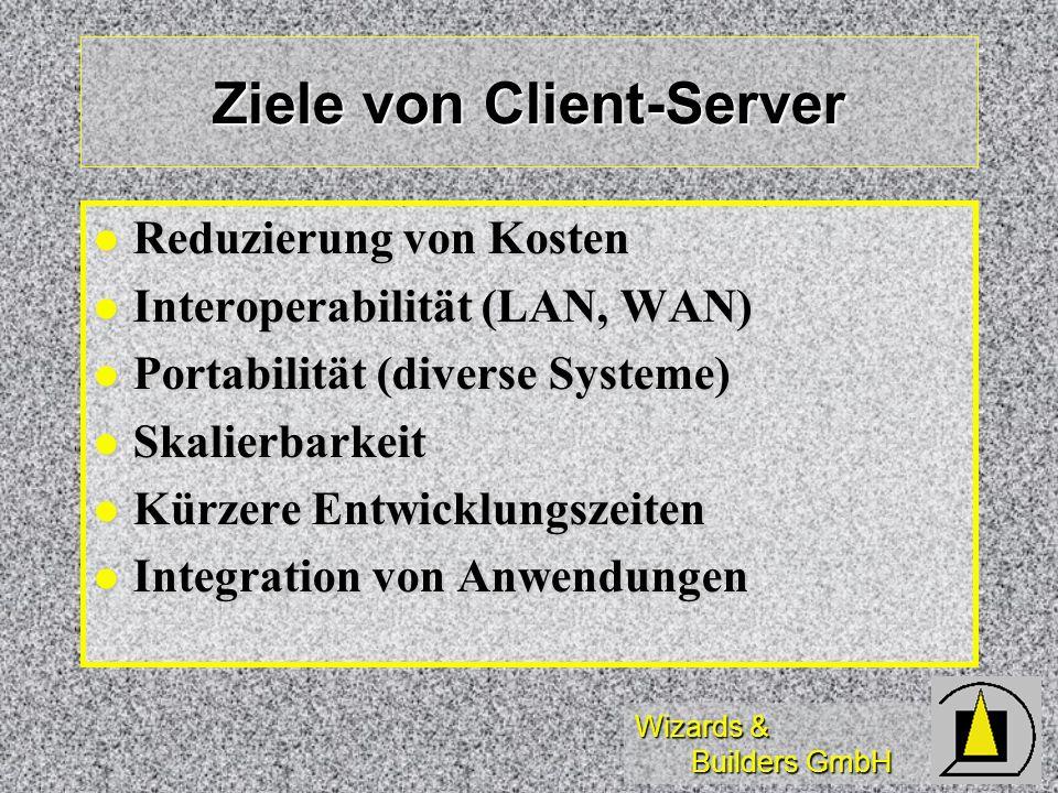 Wizards & Builders GmbH Anwendungsarchitekturen Client-Server Architekturen Client-Server Architekturen 3-Ebenen Architektur (3-Tier) 3-Ebenen Architektur (3-Tier) 5-Ebenen Architektur (Samba) 5-Ebenen Architektur (Samba) Mehrebenenarchitektur Mehrebenenarchitektur