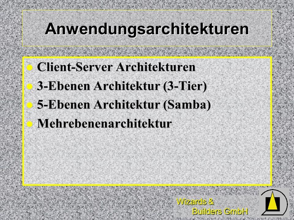 Wizards & Builders GmbH Client-Server Architekturen Präsentation Präsentation Bildschirmanzeige Bildschirmanzeige Anwendungsfunktionen Anwendungsfunktionen Geschäftsregeln Geschäftsregeln Vorgangssteuerung Vorgangssteuerung Datenmanagement Datenmanagement Datenzugriff Datenzugriff Datenspeicherung Datenspeicherung