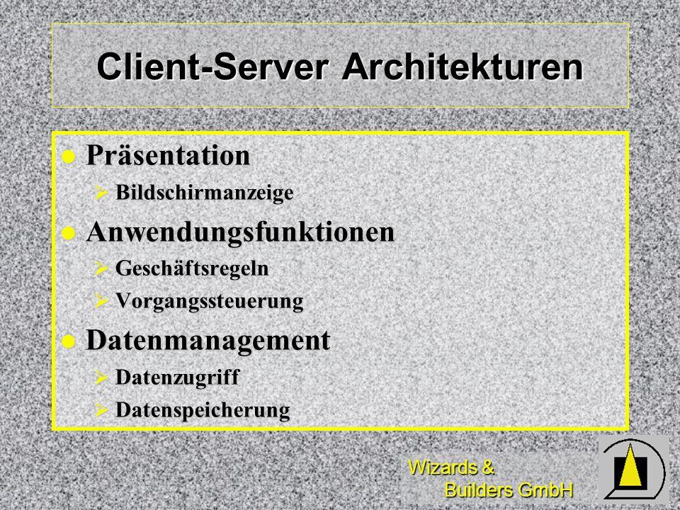 Wizards & Builders GmbH Client-Server Architekturen Präsentation Präsentation Bildschirmanzeige Bildschirmanzeige Anwendungsfunktionen Anwendungsfunkt