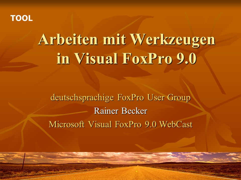 Arbeiten mit Werkzeugen in Visual FoxPro 9.0 deutschsprachige FoxPro User Group Rainer Becker Microsoft Visual FoxPro 9.0 WebCast TOOL