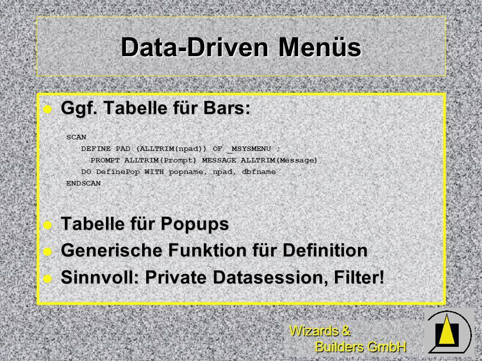 Wizards & Builders GmbH Data-Driven Menüs Ggf. Tabelle für Bars: Ggf.