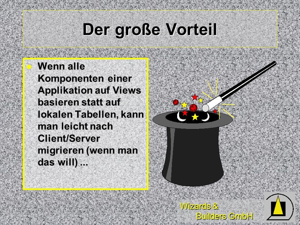 Wizards & Builders GmbH Ein Updateable View ist... Ein View mit zusätzlichen Definitionen über Einfügen, Ändern und Löschen von Datensätzen Ein View m
