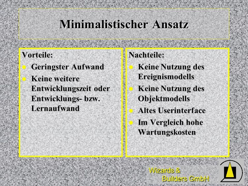 Wizards & Builders GmbH Minimalistischer Ansatz Vorteile: Geringster Aufwand Geringster Aufwand Keine weitere Entwicklungszeit oder Entwicklungs- bzw.