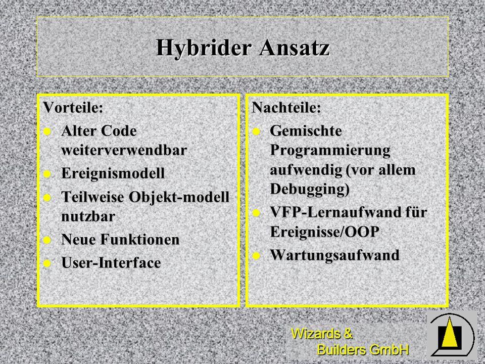 Wizards & Builders GmbH Hybrider Ansatz Vorteile: Alter Code weiterverwendbar Alter Code weiterverwendbar Ereignismodell Ereignismodell Teilweise Obje