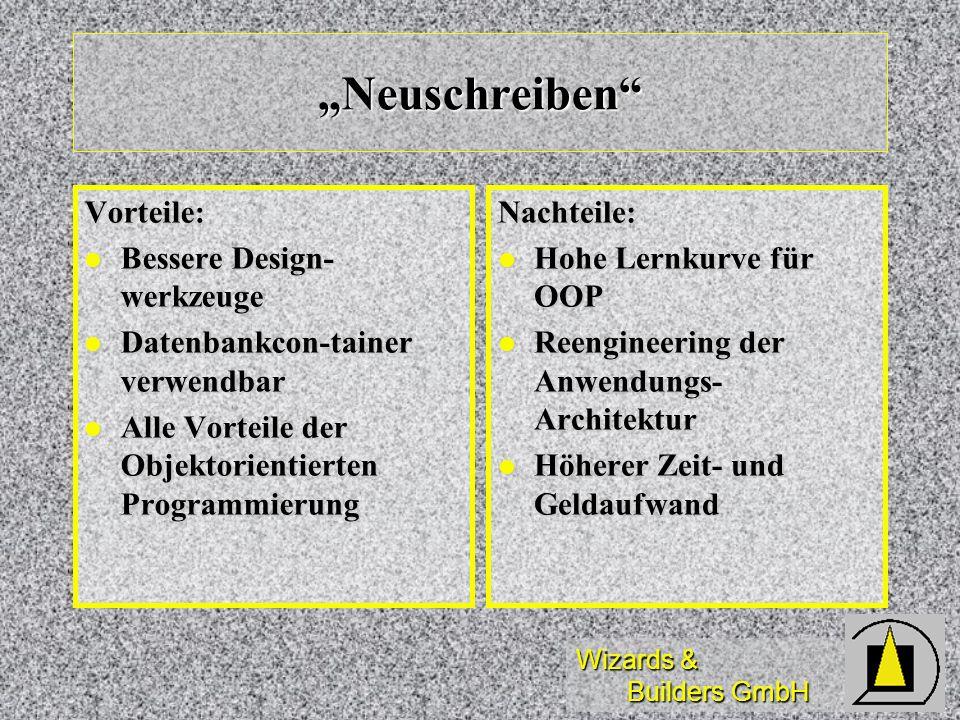 Wizards & Builders GmbH Neuschreiben Vorteile: Bessere Design- werkzeuge Bessere Design- werkzeuge Datenbankcon-tainer verwendbar Datenbankcon-tainer