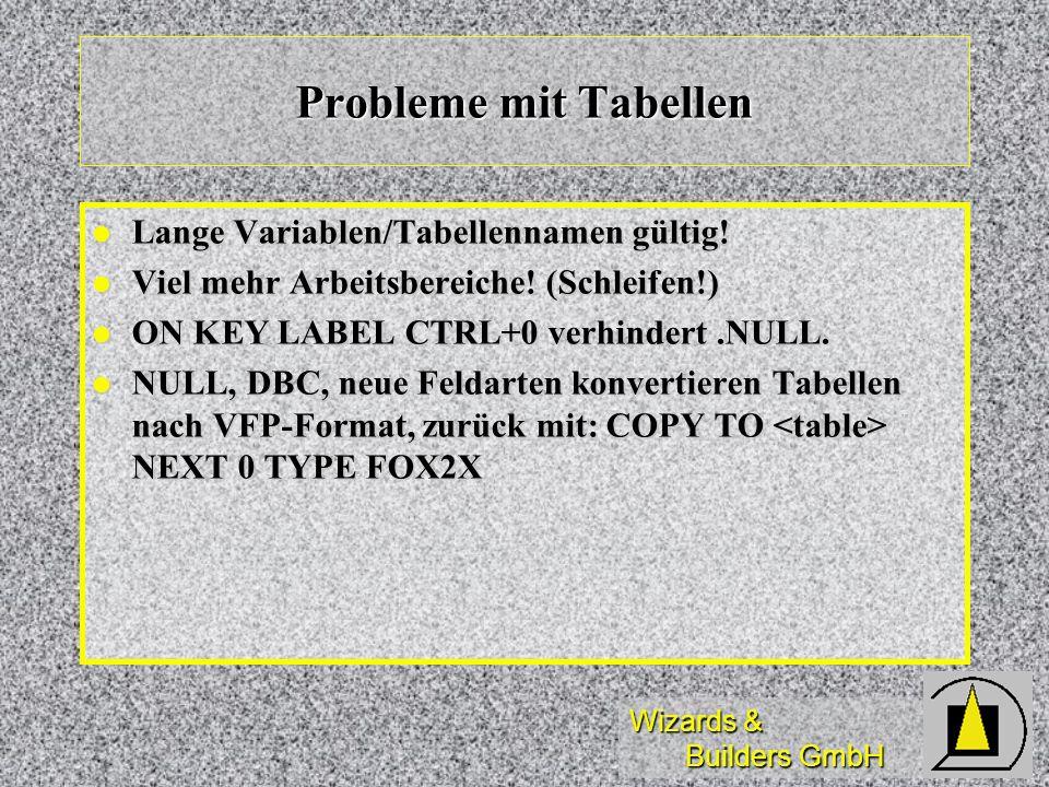 Wizards & Builders GmbH Probleme mit Tabellen Lange Variablen/Tabellennamen gültig! Lange Variablen/Tabellennamen gültig! Viel mehr Arbeitsbereiche! (