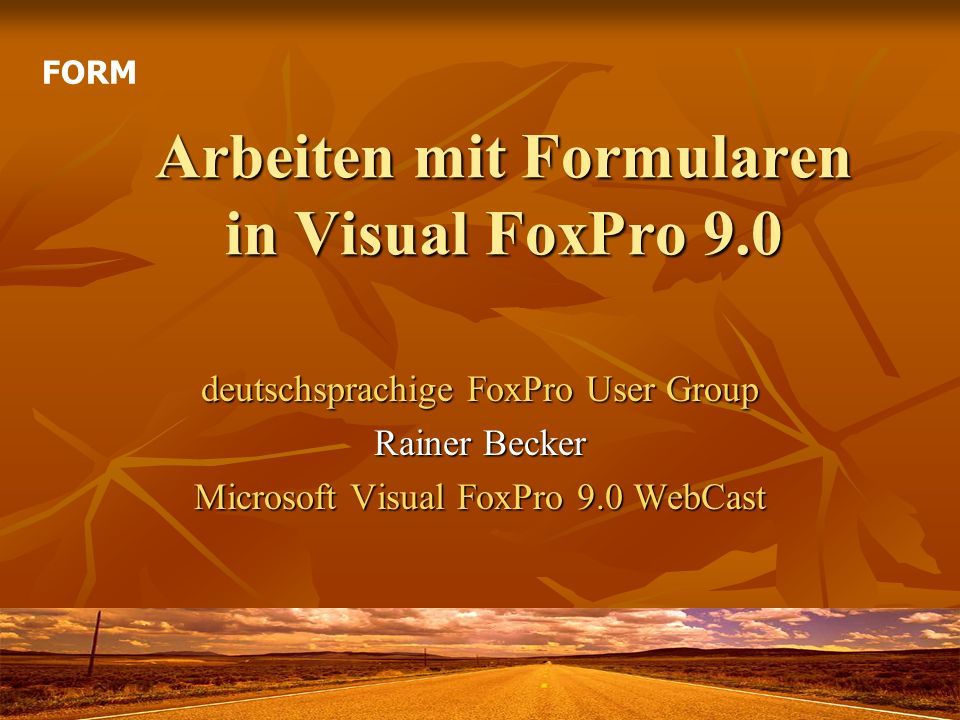 Arbeiten mit Formularen in Visual FoxPro 9.0 deutschsprachige FoxPro User Group Rainer Becker Microsoft Visual FoxPro 9.0 WebCast FORM