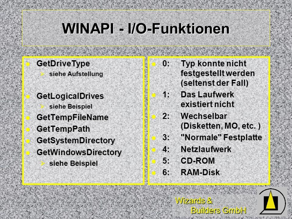 Wizards & Builders GmbH WINAPI - I/O-Funktionen GetDriveType GetDriveType siehe Aufstellung siehe Aufstellung GetLogicalDrives GetLogicalDrives siehe