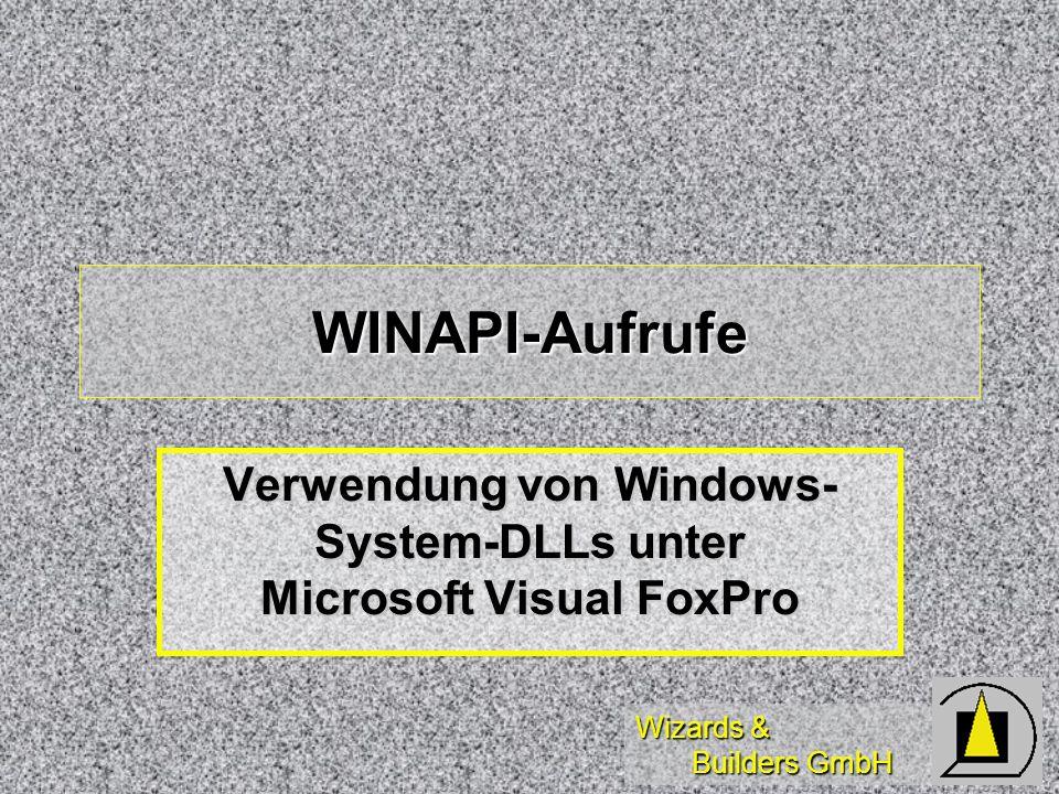Wizards & Builders GmbH WINAPI-Aufrufe Verwendung von Windows- System-DLLs unter Microsoft Visual FoxPro