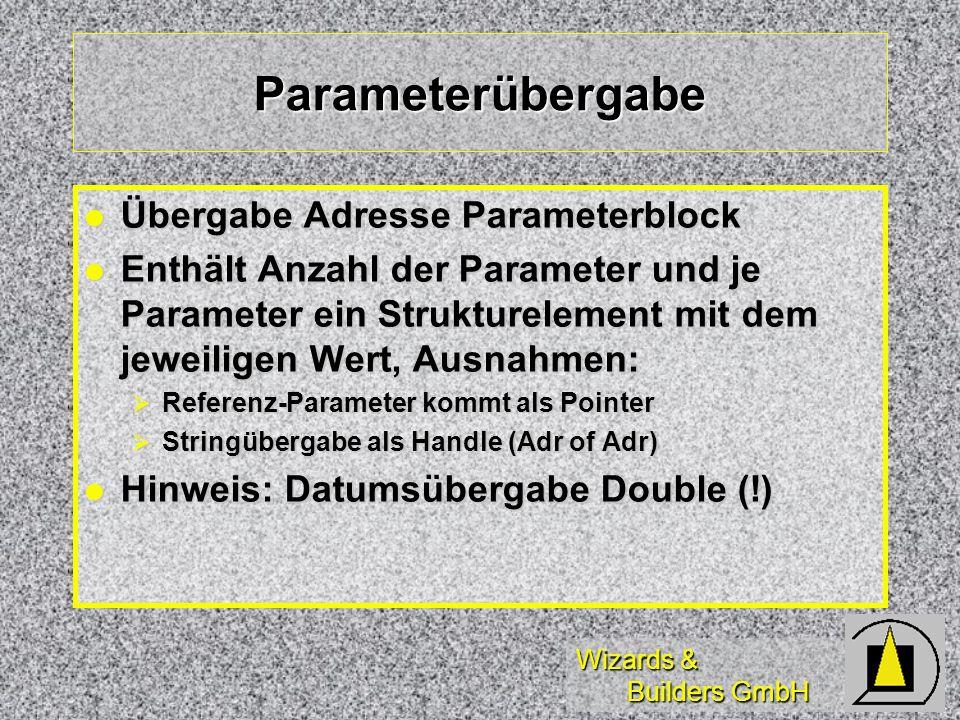 Wizards & Builders GmbH Parameterübergabe Übergabe Adresse Parameterblock Übergabe Adresse Parameterblock Enthält Anzahl der Parameter und je Parameter ein Strukturelement mit dem jeweiligen Wert, Ausnahmen: Enthält Anzahl der Parameter und je Parameter ein Strukturelement mit dem jeweiligen Wert, Ausnahmen: Referenz-Parameter kommt als Pointer Referenz-Parameter kommt als Pointer Stringübergabe als Handle (Adr of Adr) Stringübergabe als Handle (Adr of Adr) Hinweis: Datumsübergabe Double (!) Hinweis: Datumsübergabe Double (!)