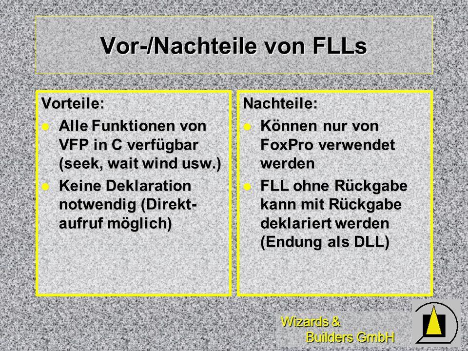 Wizards & Builders GmbH Vor-/Nachteile von FLLs Vorteile: Alle Funktionen von VFP in C verfügbar (seek, wait wind usw.) Alle Funktionen von VFP in C verfügbar (seek, wait wind usw.) Keine Deklaration notwendig (Direkt- aufruf möglich) Keine Deklaration notwendig (Direkt- aufruf möglich)Nachteile: Können nur von FoxPro verwendet werden Können nur von FoxPro verwendet werden FLL ohne Rückgabe kann mit Rückgabe deklariert werden (Endung als DLL) FLL ohne Rückgabe kann mit Rückgabe deklariert werden (Endung als DLL)