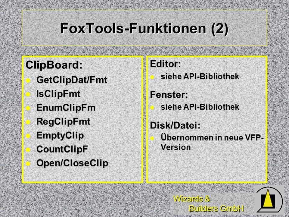 Wizards & Builders GmbH FoxTools-Funktionen (2) ClipBoard: GetClipDat/Fmt GetClipDat/Fmt IsClipFmt IsClipFmt EnumClipFm EnumClipFm RegClipFmt RegClipF