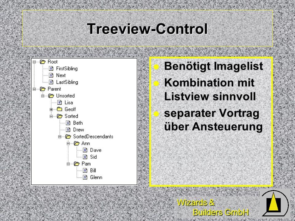 Wizards & Builders GmbH Treeview-Control Benötigt Imagelist Benötigt Imagelist Kombination mit Listview sinnvoll Kombination mit Listview sinnvoll separater Vortrag über Ansteuerung separater Vortrag über Ansteuerung