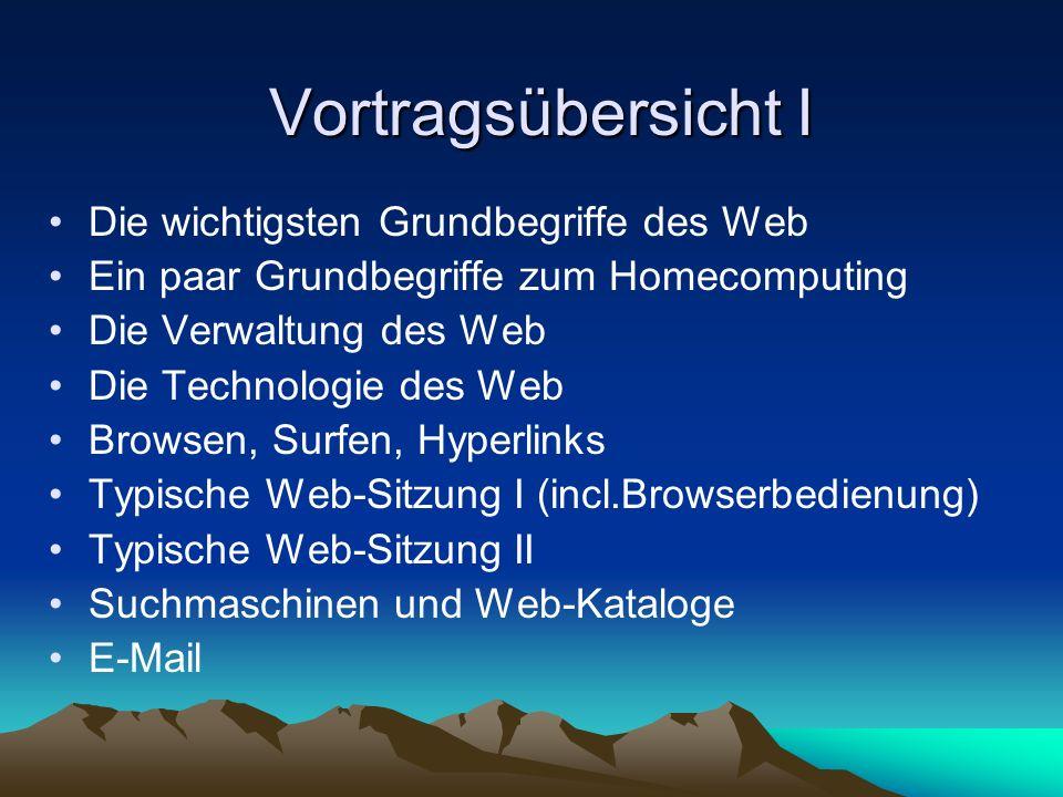Was Web-Benutzer brauchen und bezahlen Hardware: Einen Computer und einen Modem Software: Einen Browser und ein Mail-Programm Zugang zum Web über Internet-Zugangs-Provider Arten der Internet-Zugangs-Provider: Vertrags- oder call-by-call-Provider Abrechnungs-Arten: Gebühr nur nach Online-Zeit, gemischte Gebühr, Pauschalpreis (Flat Rate)