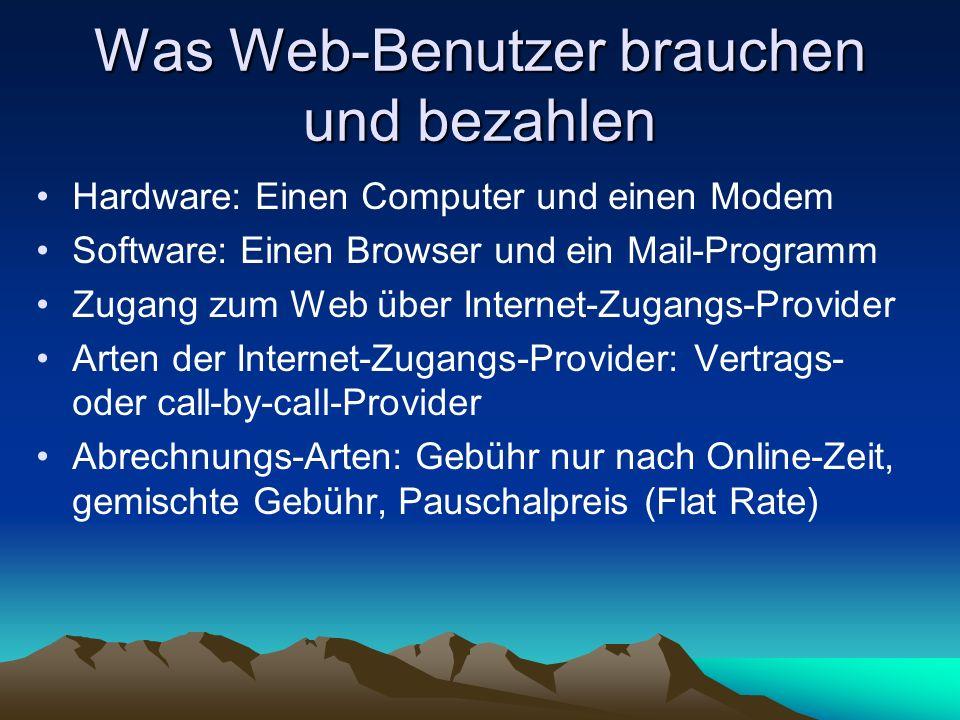 Was Web-Benutzer brauchen und bezahlen Hardware: Einen Computer und einen Modem Software: Einen Browser und ein Mail-Programm Zugang zum Web über Inte