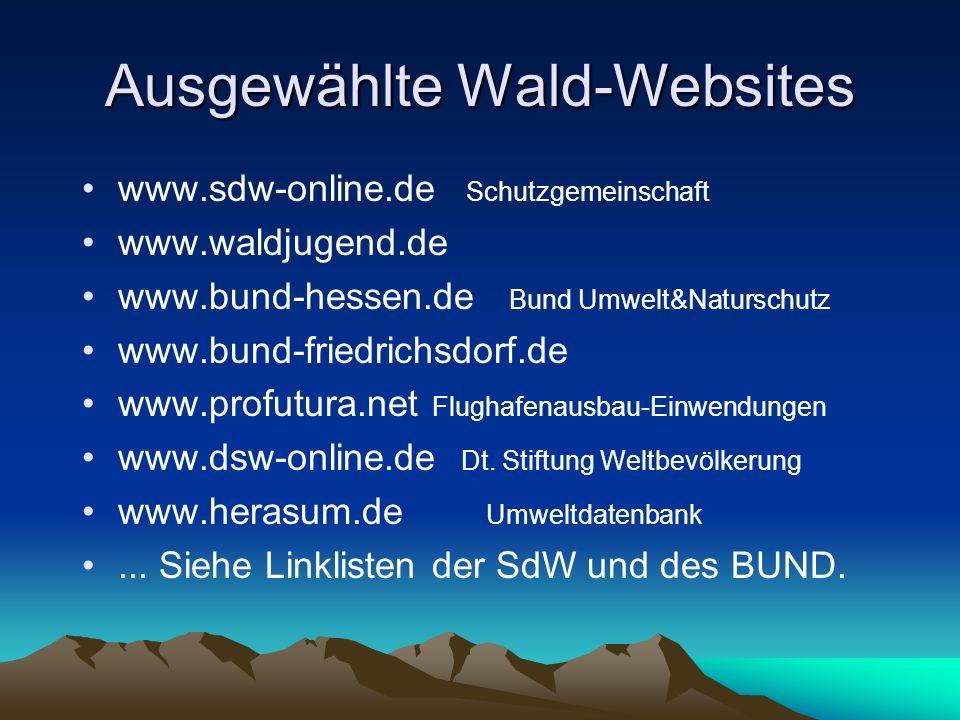 Ausgewählte Wald-Websites www.sdw-online.de Schutzgemeinschaft www.waldjugend.de www.bund-hessen.de Bund Umwelt&Naturschutz www.bund-friedrichsdorf.de