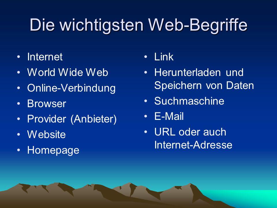Die wichtigsten Web-Begriffe Internet World Wide Web Online-Verbindung Browser Provider (Anbieter) Website Homepage Link Herunterladen und Speichern v
