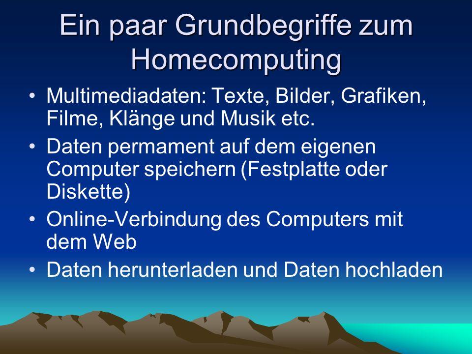 Ein paar Grundbegriffe zum Homecomputing Multimediadaten: Texte, Bilder, Grafiken, Filme, Klänge und Musik etc. Daten permament auf dem eigenen Comput