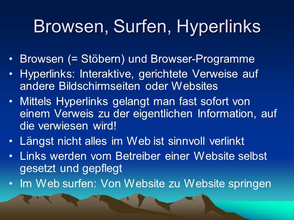 Browsen, Surfen, Hyperlinks Browsen (= Stöbern) und Browser-Programme Hyperlinks: Interaktive, gerichtete Verweise auf andere Bildschirmseiten oder We