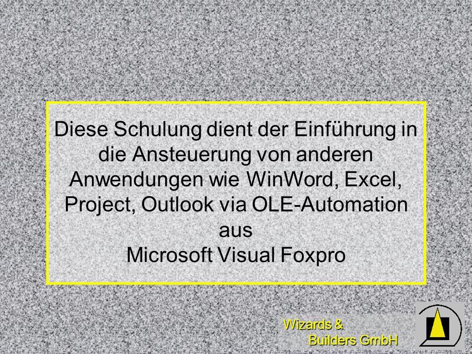 Wizards & Builders GmbH Diese Schulung dient der Einführung in die Ansteuerung von anderen Anwendungen wie WinWord, Excel, Project, Outlook via OLE-Au