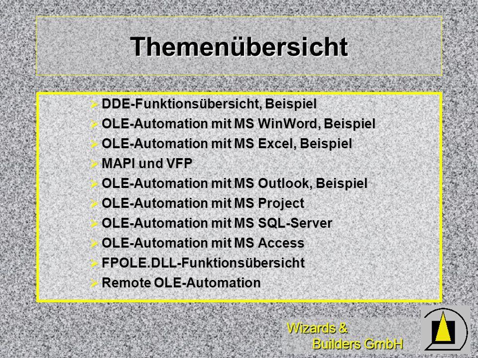 Wizards & Builders GmbH Themenübersicht DDE-Funktionsübersicht, Beispiel DDE-Funktionsübersicht, Beispiel OLE-Automation mit MS WinWord, Beispiel OLE-
