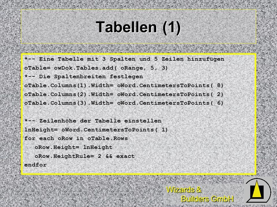Wizards & Builders GmbH Tabellen (1) *-- Eine Tabelle mit 3 Spalten und 5 Zeilen hinzufügen oTable= owDok.Tables.add( oRange, 5, 3) *-- Die Spaltenbre