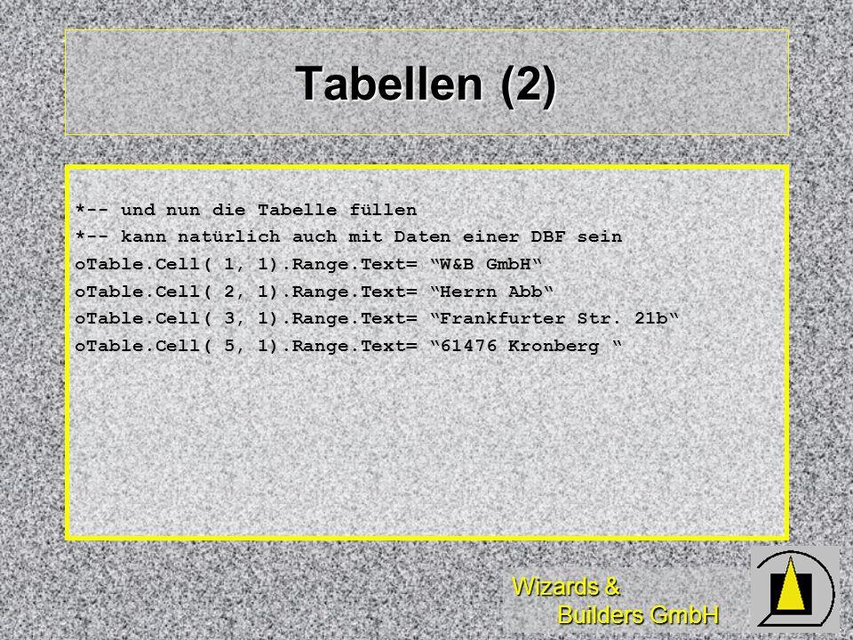 Wizards & Builders GmbH Tabellen (2) *-- und nun die Tabelle füllen *-- kann natürlich auch mit Daten einer DBF sein oTable.Cell( 1, 1).Range.Text= W&