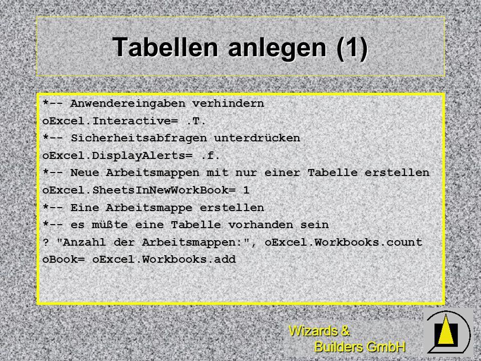 Wizards & Builders GmbH Tabellen anlegen (1) *-- Anwendereingaben verhindern oExcel.Interactive=.T. *-- Sicherheitsabfragen unterdrücken oExcel.Displa