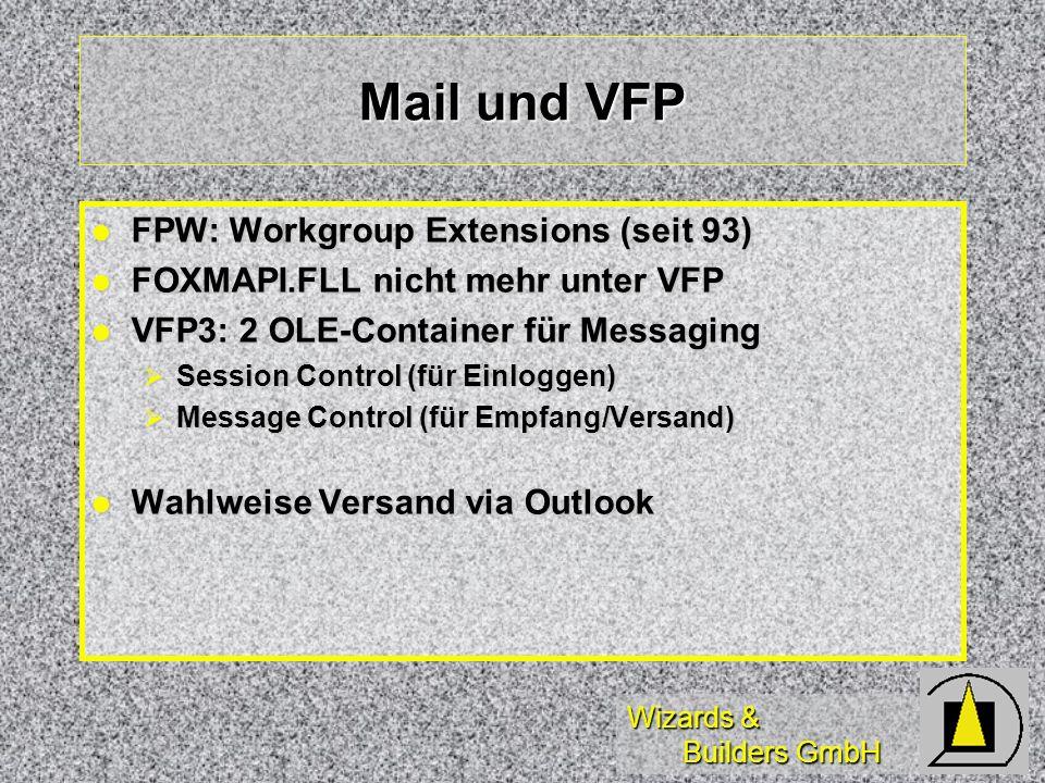 Wizards & Builders GmbH Mail und VFP FPW: Workgroup Extensions (seit 93) FPW: Workgroup Extensions (seit 93) FOXMAPI.FLL nicht mehr unter VFP FOXMAPI.