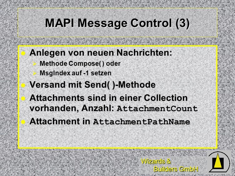 Wizards & Builders GmbH MAPI Message Control (3) Anlegen von neuen Nachrichten: Anlegen von neuen Nachrichten: Methode Compose( ) oder Methode Compose