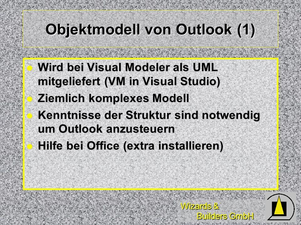 Wizards & Builders GmbH Objektmodell von Outlook (1) Wird bei Visual Modeler als UML mitgeliefert (VM in Visual Studio) Wird bei Visual Modeler als UM