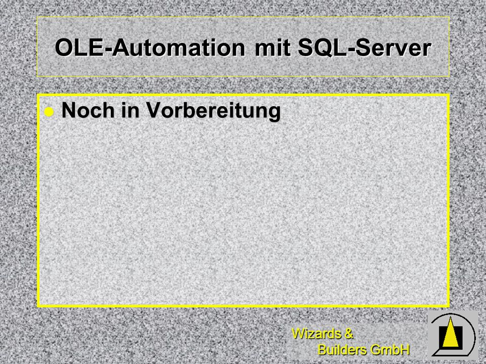 Wizards & Builders GmbH OLE-Automation mit SQL-Server Noch in Vorbereitung Noch in Vorbereitung