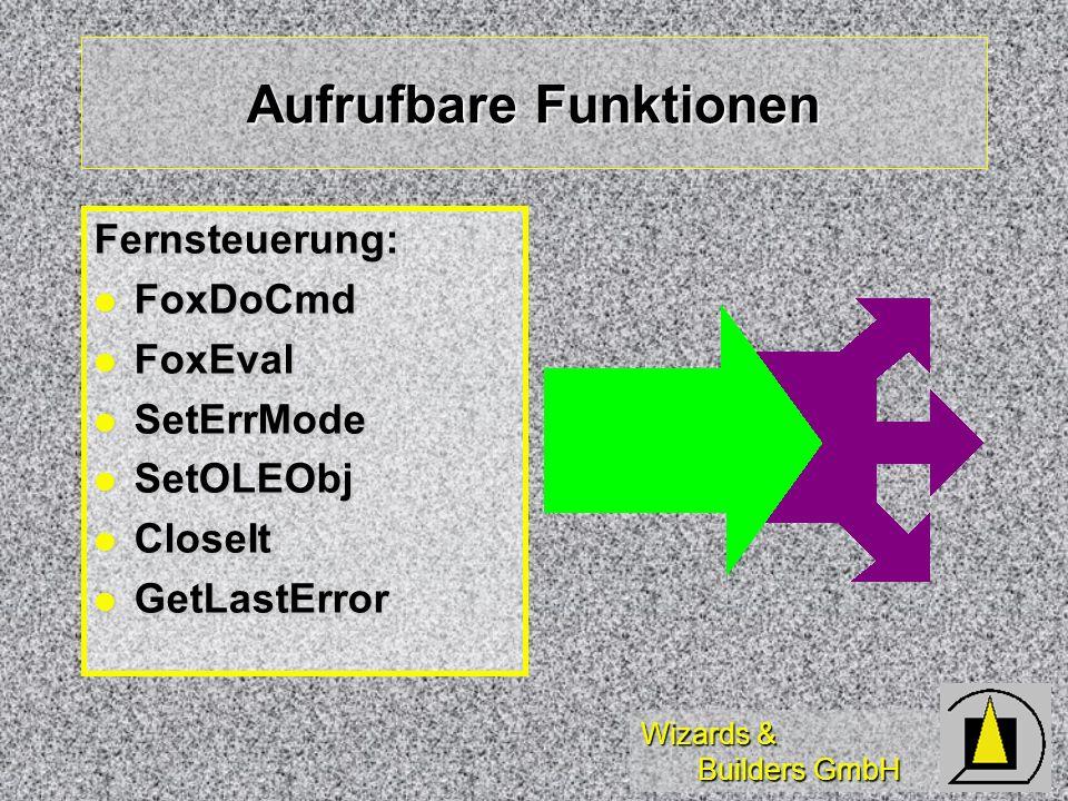 Wizards & Builders GmbH Aufrufbare Funktionen Fernsteuerung: FoxDoCmd FoxDoCmd FoxEval FoxEval SetErrMode SetErrMode SetOLEObj SetOLEObj CloseIt Close
