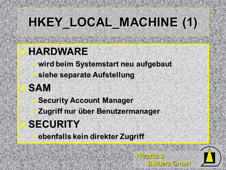 Wizards & Builders GmbH HKEY_LOCAL_MACHINE (1) HARDWARE HARDWARE wird beim Systemstart neu aufgebaut wird beim Systemstart neu aufgebaut siehe separat