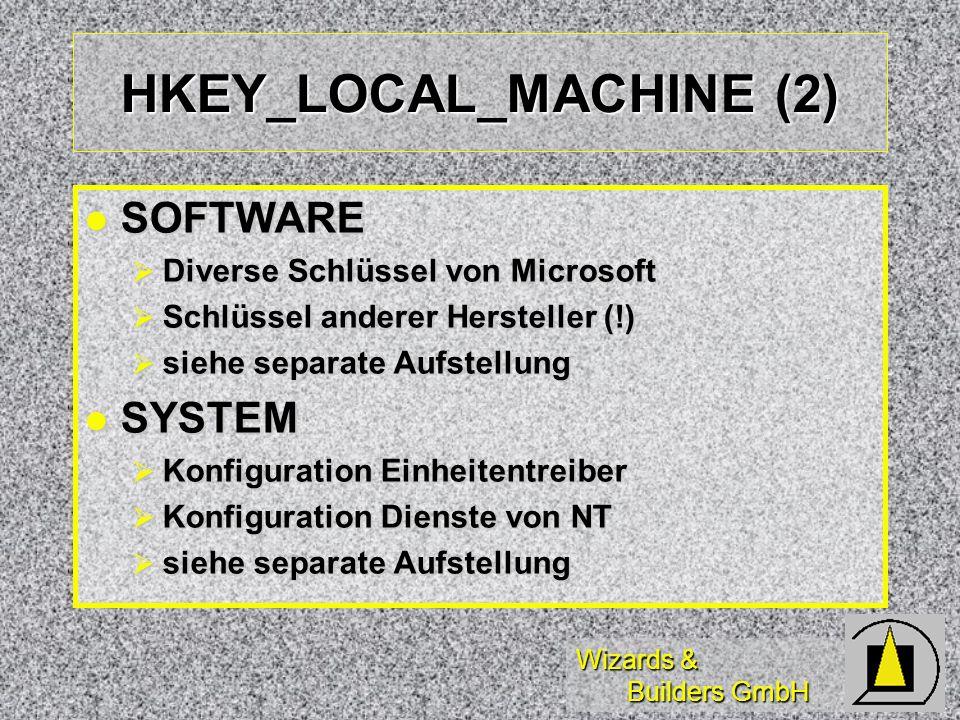 Wizards & Builders GmbH HKEY_LOCAL_MACHINE (2) SOFTWARE SOFTWARE Diverse Schlüssel von Microsoft Diverse Schlüssel von Microsoft Schlüssel anderer Hersteller (!) Schlüssel anderer Hersteller (!) siehe separate Aufstellung siehe separate Aufstellung SYSTEM SYSTEM Konfiguration Einheitentreiber Konfiguration Einheitentreiber Konfiguration Dienste von NT Konfiguration Dienste von NT siehe separate Aufstellung siehe separate Aufstellung