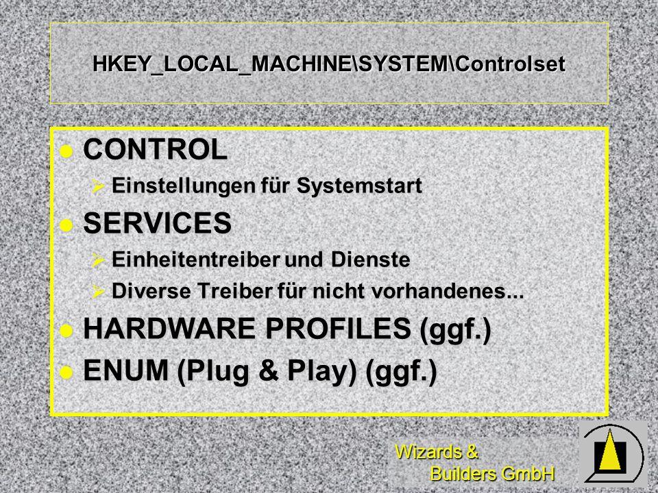 Wizards & Builders GmbH HKEY_LOCAL_MACHINE\SYSTEM\Controlset CONTROL CONTROL Einstellungen für Systemstart Einstellungen für Systemstart SERVICES SERVICES Einheitentreiber und Dienste Einheitentreiber und Dienste Diverse Treiber für nicht vorhandenes...