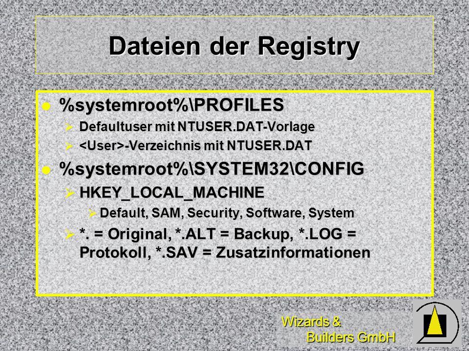 Wizards & Builders GmbH Dateien der Registry %systemroot%\PROFILES %systemroot%\PROFILES Defaultuser mit NTUSER.DAT-Vorlage Defaultuser mit NTUSER.DAT