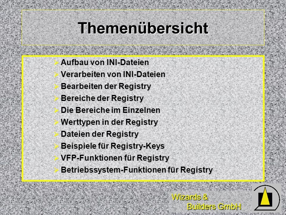 Wizards & Builders GmbH Themenübersicht Aufbau von INI-Dateien Aufbau von INI-Dateien Verarbeiten von INI-Dateien Verarbeiten von INI-Dateien Bearbeiten der Registry Bearbeiten der Registry Bereiche der Registry Bereiche der Registry Die Bereiche im Einzelnen Die Bereiche im Einzelnen Werttypen in der Registry Werttypen in der Registry Dateien der Registry Dateien der Registry Beispiele für Registry-Keys Beispiele für Registry-Keys VFP-Funktionen für Registry VFP-Funktionen für Registry Betriebssystem-Funktionen für Registry Betriebssystem-Funktionen für Registry