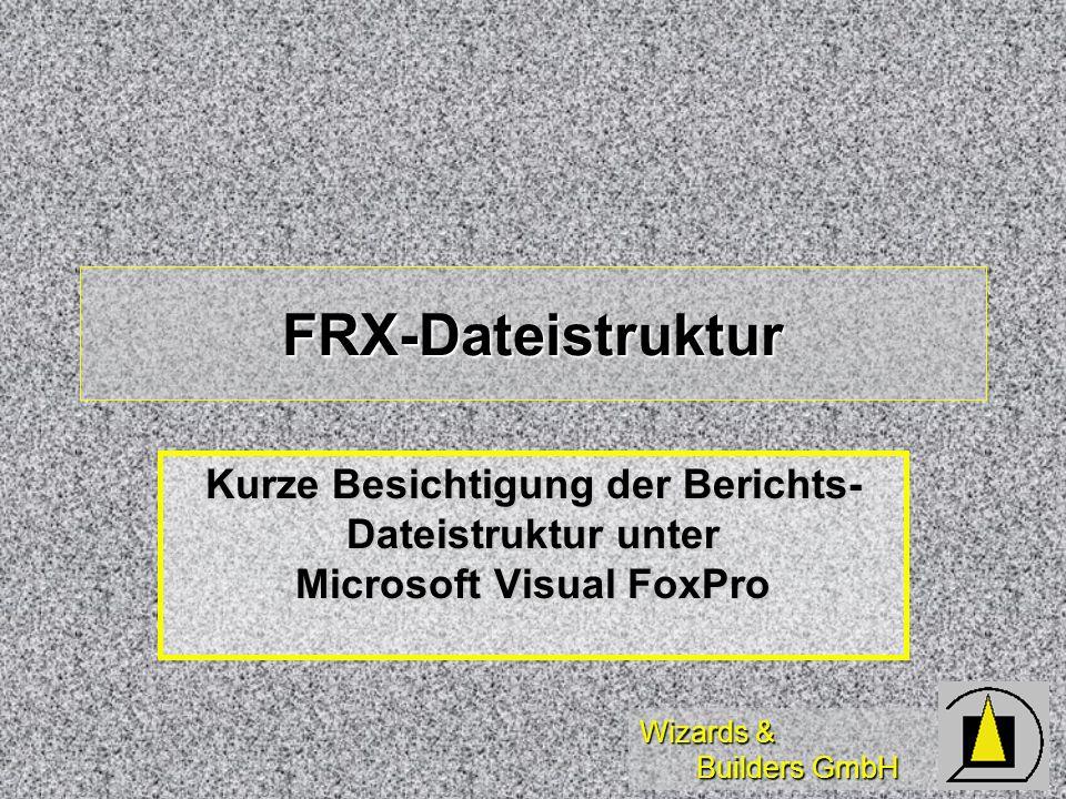 Wizards & Builders GmbH FRX-Dateistruktur Kurze Besichtigung der Berichts- Dateistruktur unter Microsoft Visual FoxPro