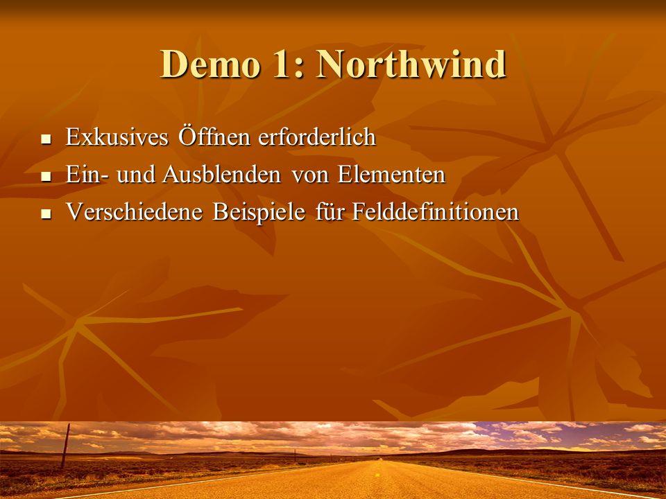 Demo 1: Northwind Exkusives Öffnen erforderlich Exkusives Öffnen erforderlich Ein- und Ausblenden von Elementen Ein- und Ausblenden von Elementen Verschiedene Beispiele für Felddefinitionen Verschiedene Beispiele für Felddefinitionen