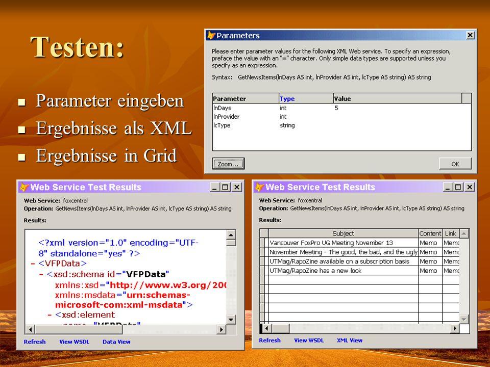 Parameter eingeben Parameter eingeben Ergebnisse als XML Ergebnisse als XML Ergebnisse in Grid Ergebnisse in Grid Testen: