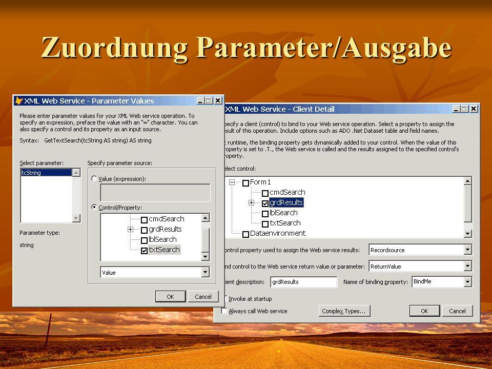 Zuordnung Parameter/Ausgabe