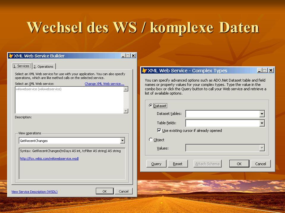 Wechsel des WS / komplexe Daten