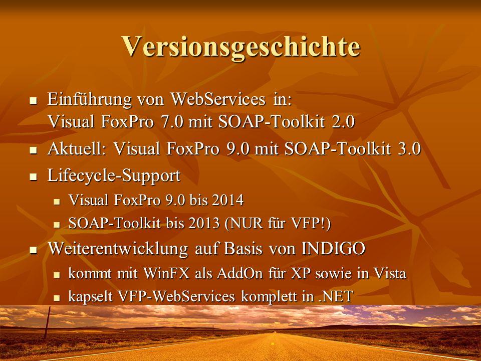 Versionsgeschichte Einführung von WebServices in: Visual FoxPro 7.0 mit SOAP-Toolkit 2.0 Einführung von WebServices in: Visual FoxPro 7.0 mit SOAP-Too