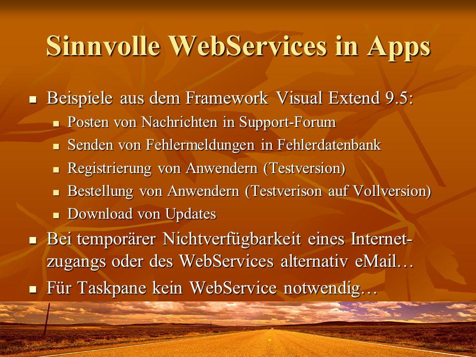 Sinnvolle WebServices in Apps Beispiele aus dem Framework Visual Extend 9.5: Beispiele aus dem Framework Visual Extend 9.5: Posten von Nachrichten in
